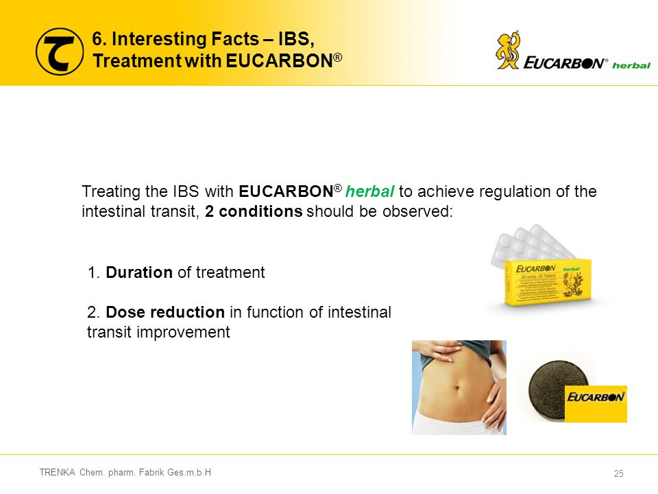 25 TRENKA Chem. pharm. Fabrik Ges.m.b.H 6. Interesting Facts – IBS, Treatment with EUCARBON ® Treating the IBS with EUCARBON ® herbal to achieve regul