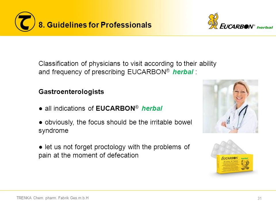 31 TRENKA Chem. pharm. Fabrik Ges.m.b.H 8. Guidelines for Professionals Gastroenterologists ● all indications of EUCARBON ® herbal ● obviously, the fo