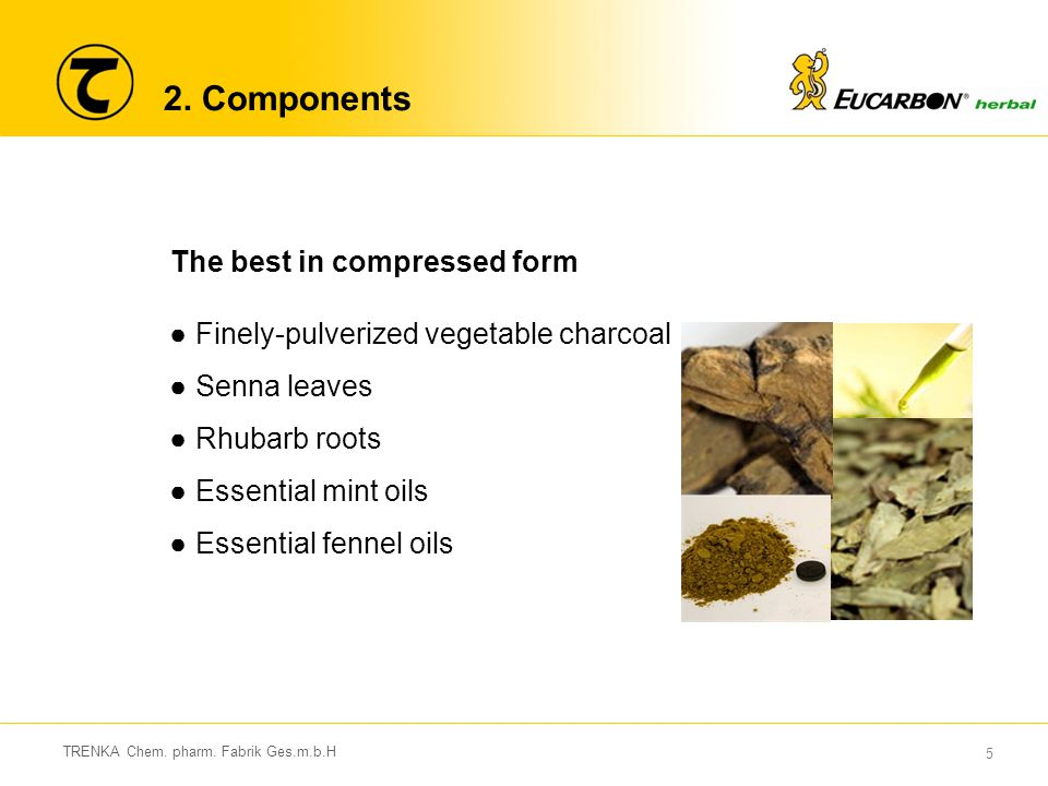 5 2. Components The best in compressed form ●Finely-pulverized vegetable charcoal ●Senna leaves ●Rhubarb roots ●Essential mint oils ●Essential fennel