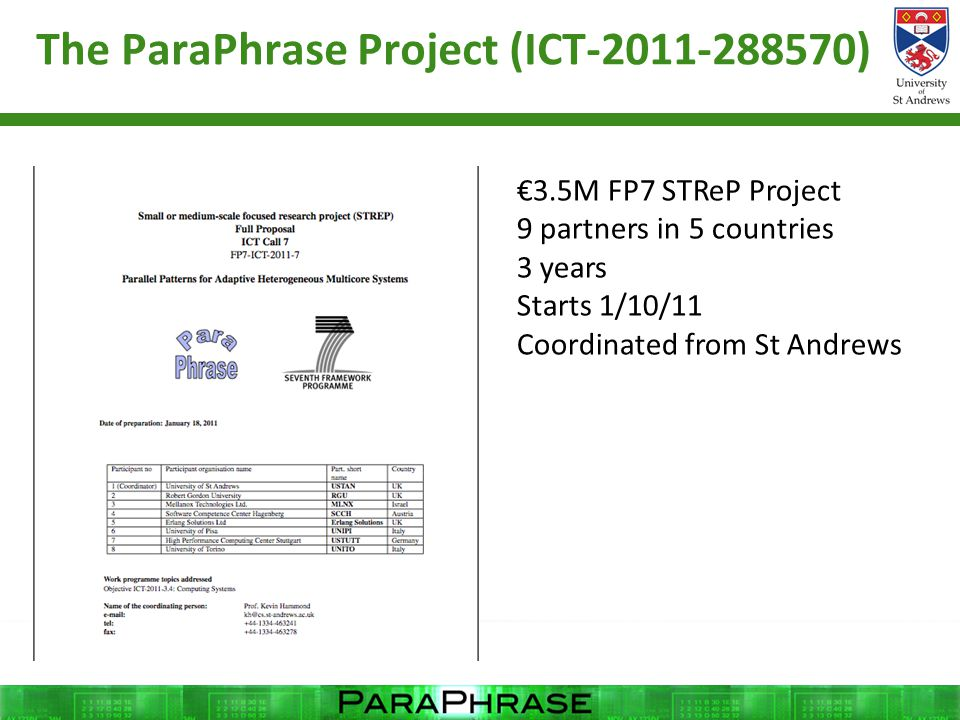 The ParaPhrase Project (ICT-2011-288570) €3.5M FP7 STReP Project 9 partners in 5 countries 3 years Starts 1/10/11 Coordinated from St Andrews