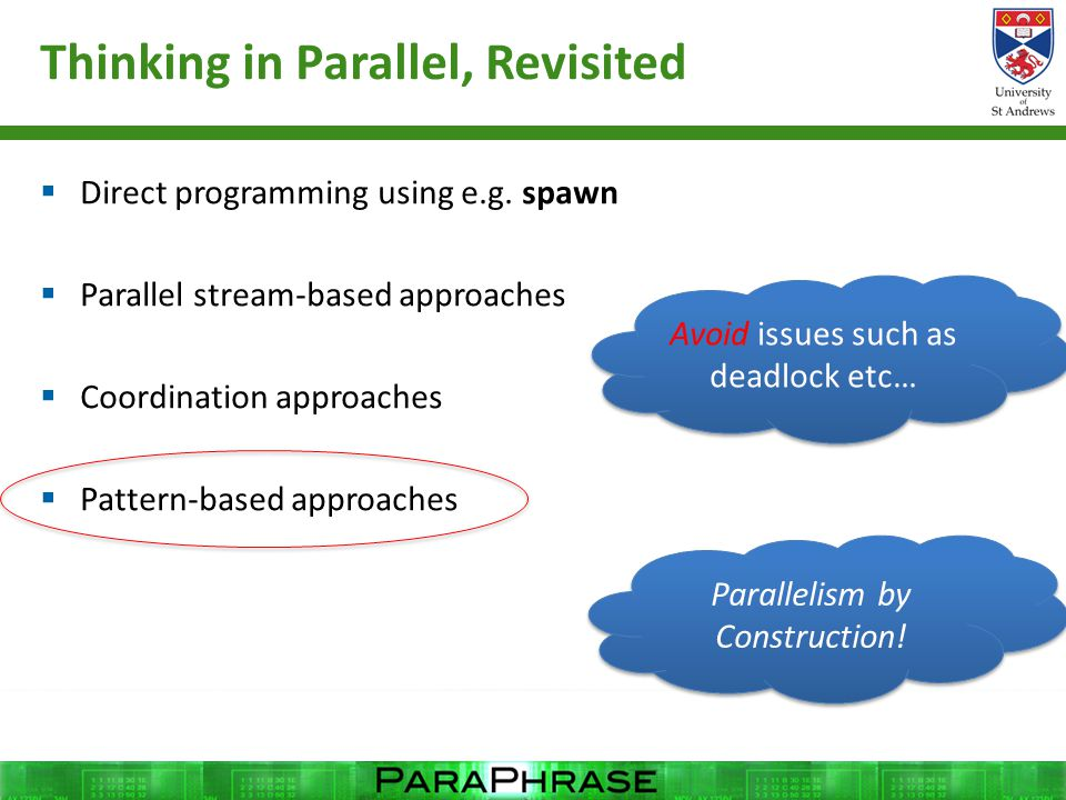 Thinking in Parallel, Revisited  Direct programming using e.g. spawn  Parallel stream-based approaches  Coordination approaches  Pattern-based app