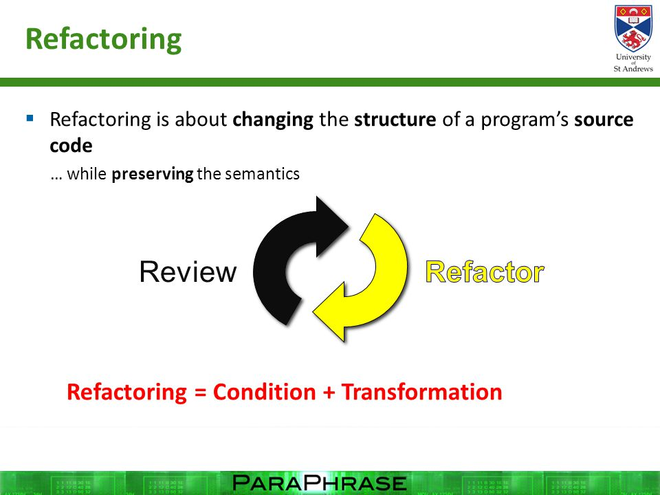 Refactoring  Refactoring is about changing the structure of a program's source code … while preserving the semantics Review Refactoring = Condition +