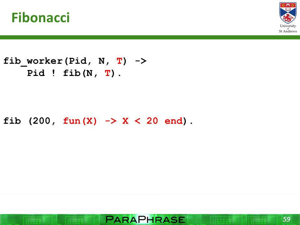 Fibonacci 59 fib_worker(Pid, N, T) -> Pid ! fib(N, T). fib (200, fun(X) -> X < 20 end).