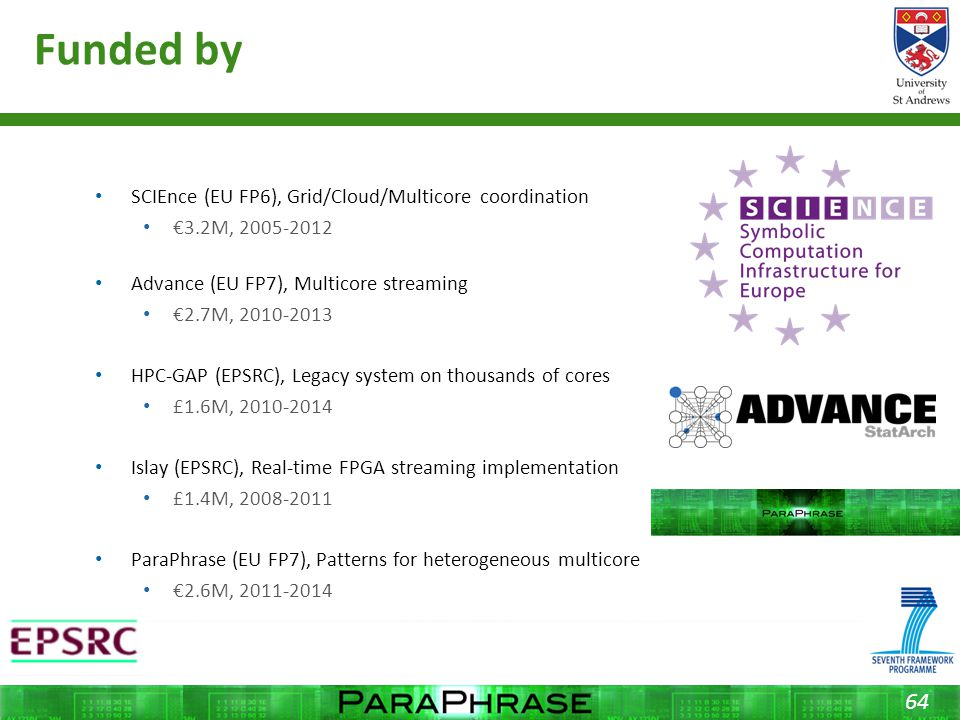 Funded by SCIEnce (EU FP6), Grid/Cloud/Multicore coordination €3.2M, 2005-2012 Advance (EU FP7), Multicore streaming €2.7M, 2010-2013 HPC-GAP (EPSRC), Legacy system on thousands of cores £1.6M, 2010-2014 Islay (EPSRC), Real-time FPGA streaming implementation £1.4M, 2008-2011 ParaPhrase (EU FP7), Patterns for heterogeneous multicore €2.6M, 2011-2014 64