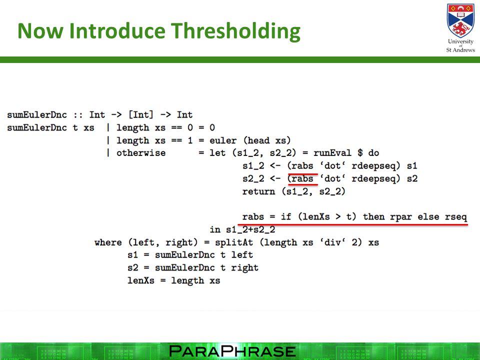 Now Introduce Thresholding