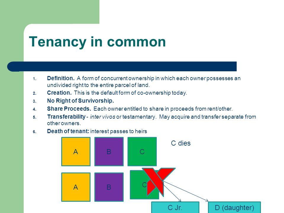 Tenancy in common 1. Definition. A form of concurrent ownership in which each owner possesses an undivided right to the entire parcel of land. 2. Crea