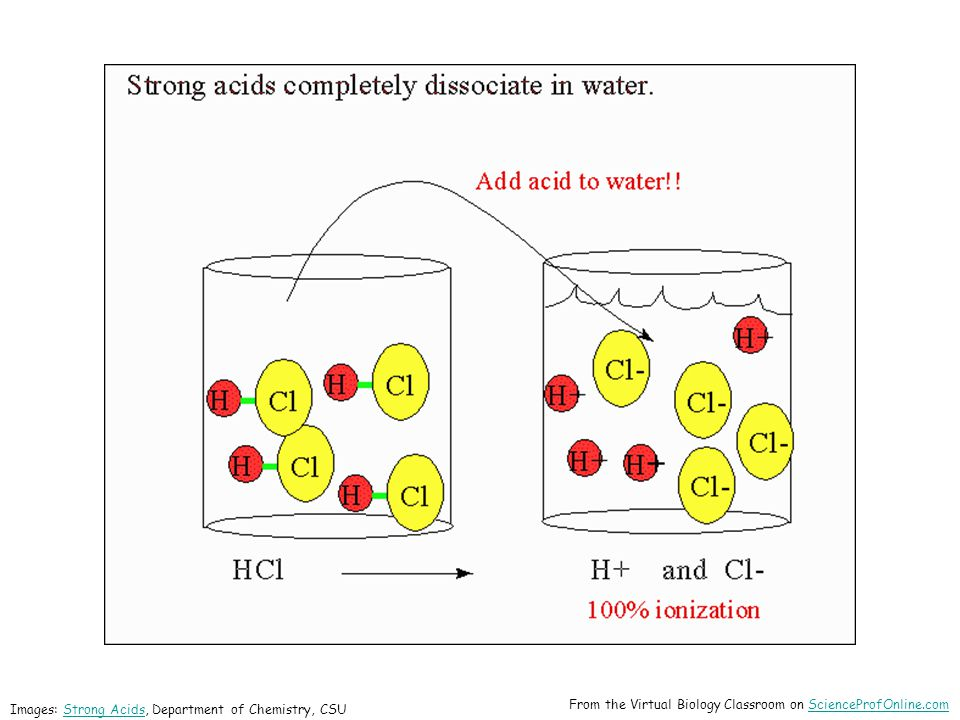 Images: Strong Acids, Department of Chemistry, CSUStrong Acids From the Virtual Biology Classroom on ScienceProfOnline.comScienceProfOnline.com