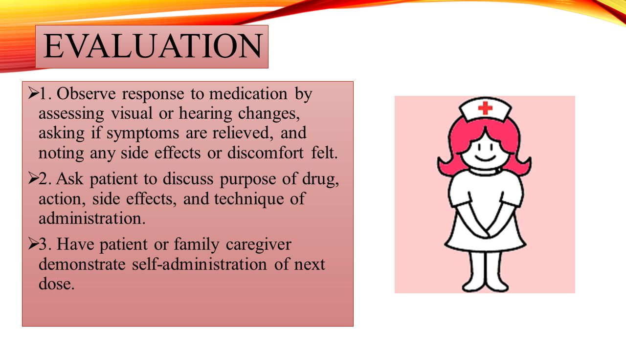 EVALUATION  1. Observe response to medication by assessing visual or hearing changes, asking if symptoms are relieved, and noting any side effects or