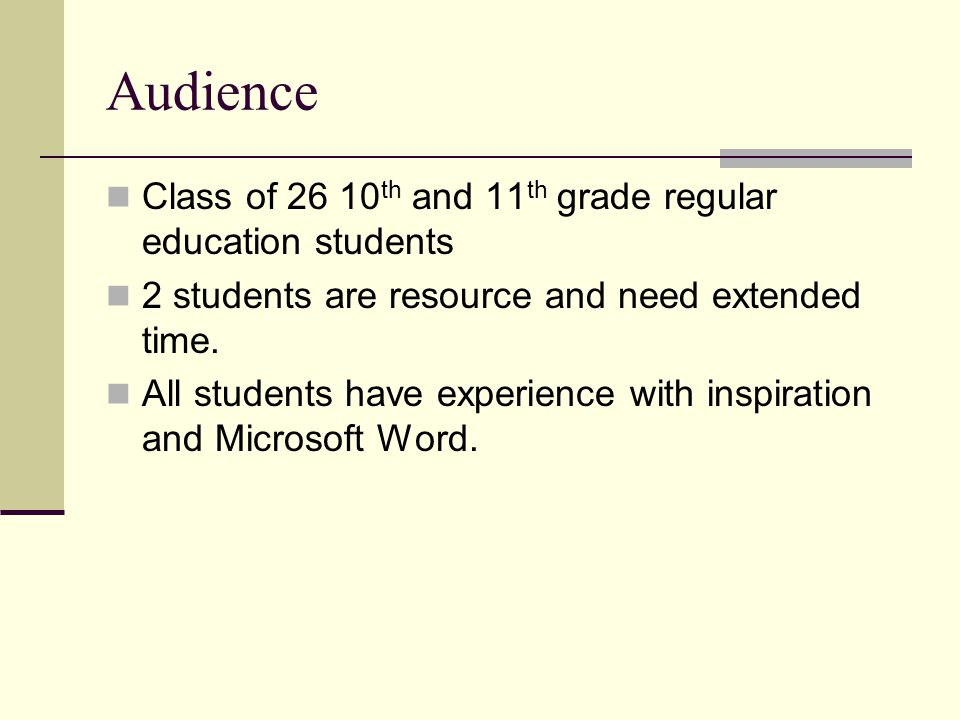Audience Class of 26 10 th and 11 th grade regular education students 2 students are resource and need extended time. All students have experience wit