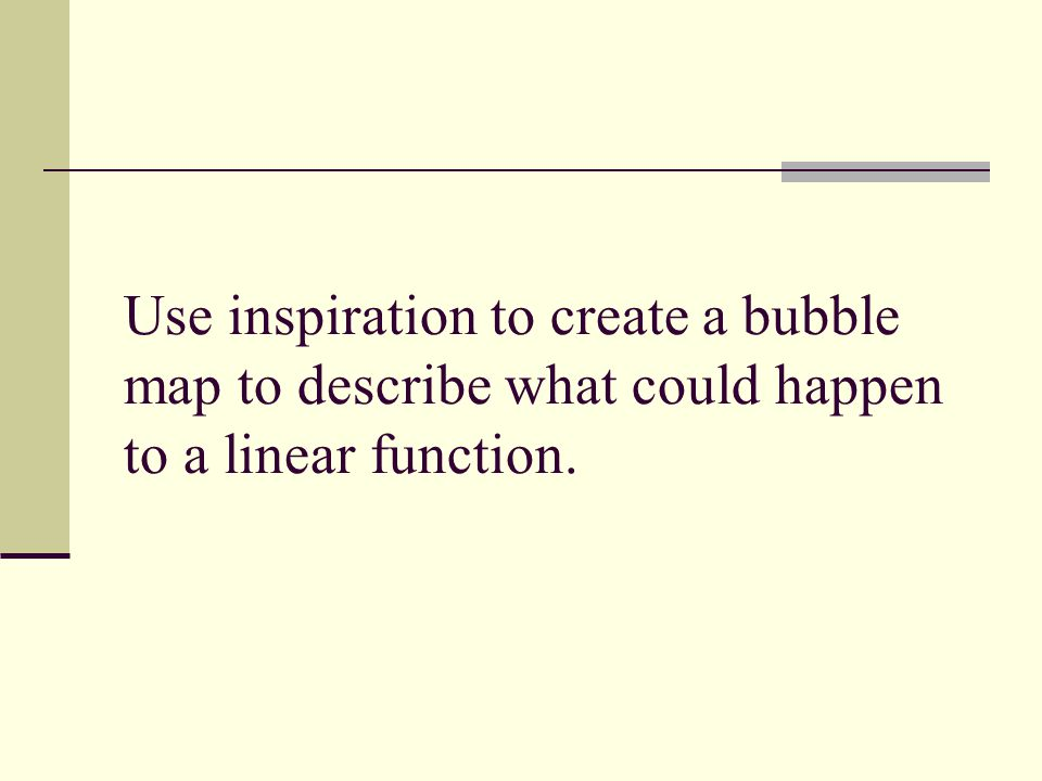 Use inspiration to create a bubble map to describe what could happen to a linear function.