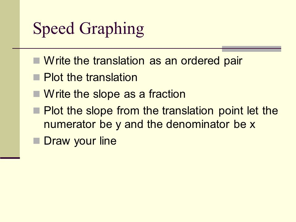 Speed Graphing Write the translation as an ordered pair Plot the translation Write the slope as a fraction Plot the slope from the translation point l