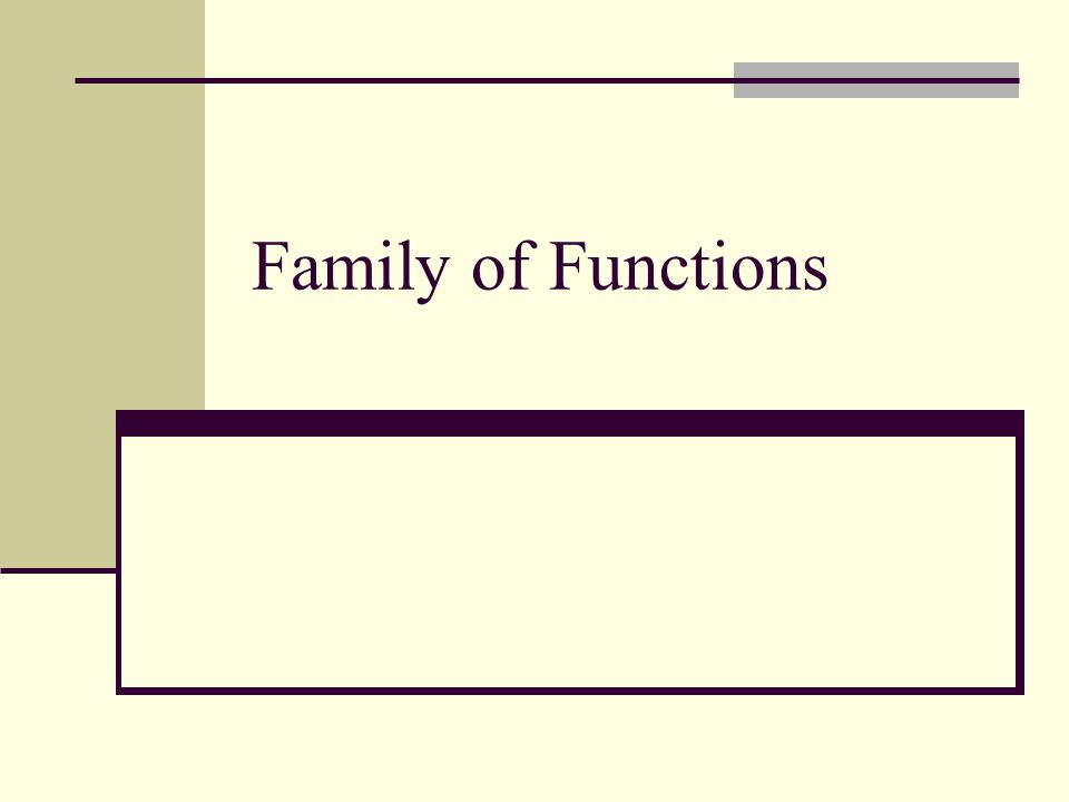 Family of Functions