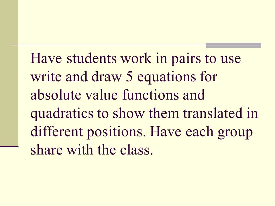 Have students work in pairs to use write and draw 5 equations for absolute value functions and quadratics to show them translated in different positio