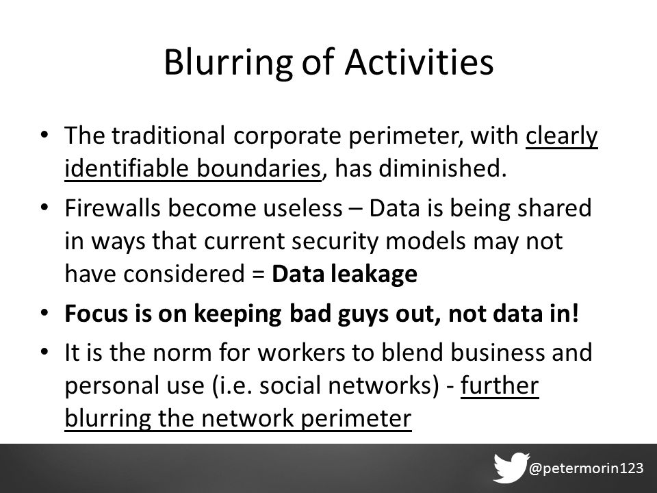 @petermorin123 Blurring of Activities The traditional corporate perimeter, with clearly identifiable boundaries, has diminished.