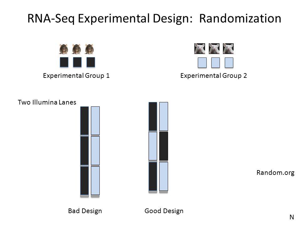 Two Illumina Lanes Bad DesignGood Design Random.org RNA-Seq Experimental Design: Randomization Experimental Group 2Experimental Group 1 N