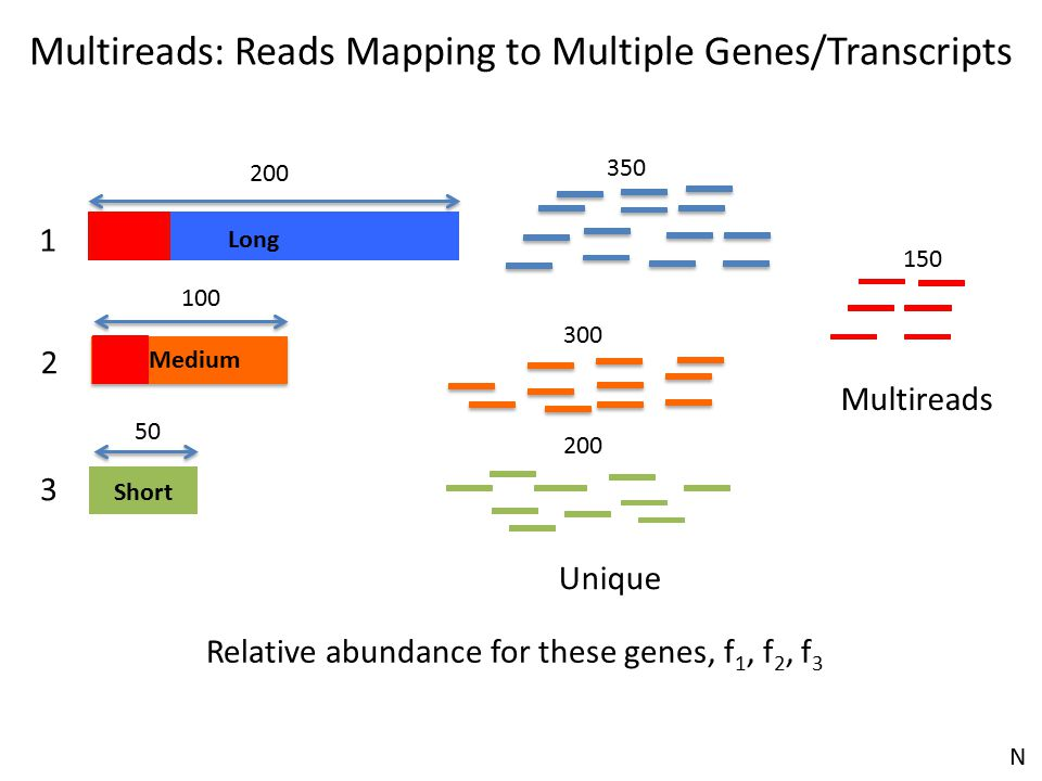 Long Short 200 Medium 100 50 1 2 3 Relative abundance for these genes, f 1, f 2, f 3 350 300 200 150 Unique Multireads Multireads: Reads Mapping to Mu