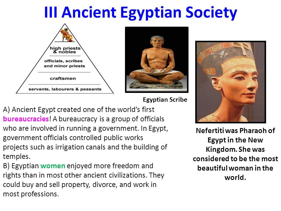 III Ancient Egyptian Society A) Ancient Egypt created one of the world's first bureaucracies.