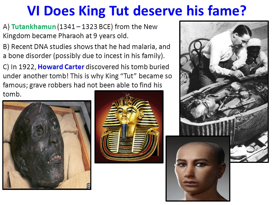 VI Does King Tut deserve his fame? A) Tutankhamun (1341 – 1323 BCE) from the New Kingdom became Pharaoh at 9 years old. B) Recent DNA studies shows th