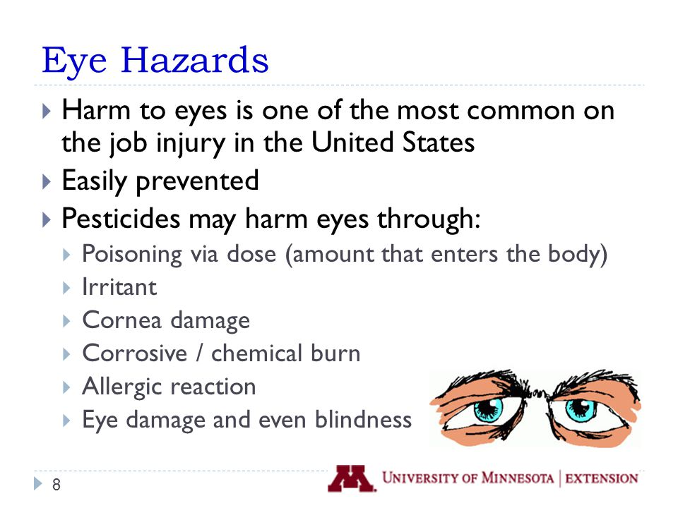 Eyes Are Extremely Absorbent  Blood vessels very close to the surface of the eye  For size, able to absorb large amounts of chemical  Chemicals harm eyes directly (contact harm) or can move elsewhere in the body (systemic harm) 9