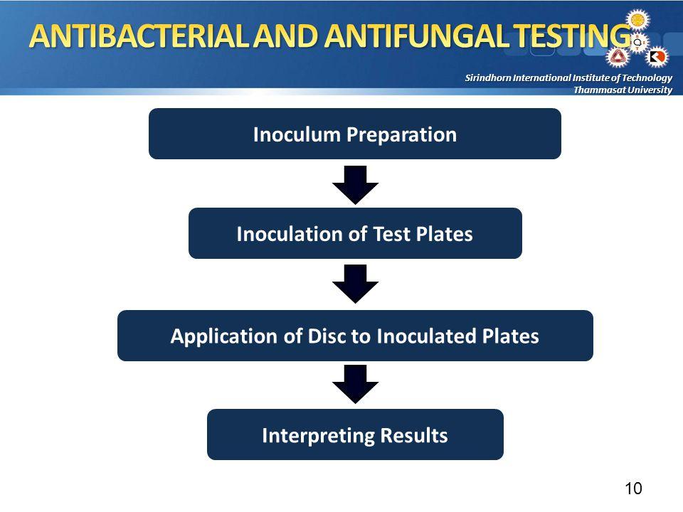 Sirindhorn International Institute of Technology Thammasat University Inoculum Preparation Inoculation of Test Plates Interpreting Results Application of Disc to Inoculated Plates 10