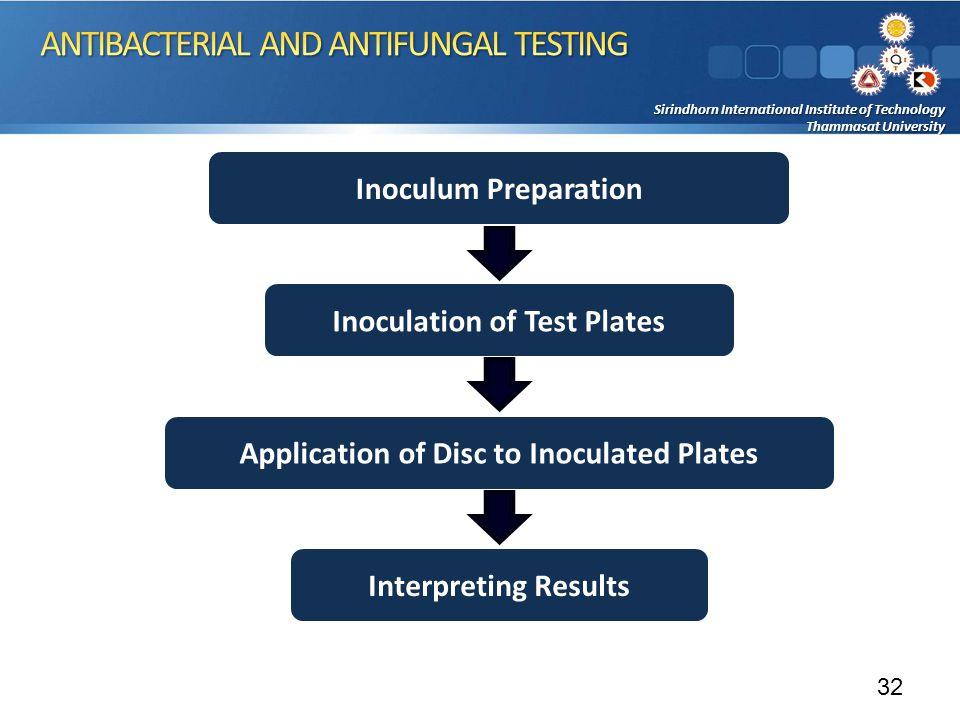 Sirindhorn International Institute of Technology Thammasat University Inoculum Preparation Inoculation of Test Plates Interpreting Results Application of Disc to Inoculated Plates 32