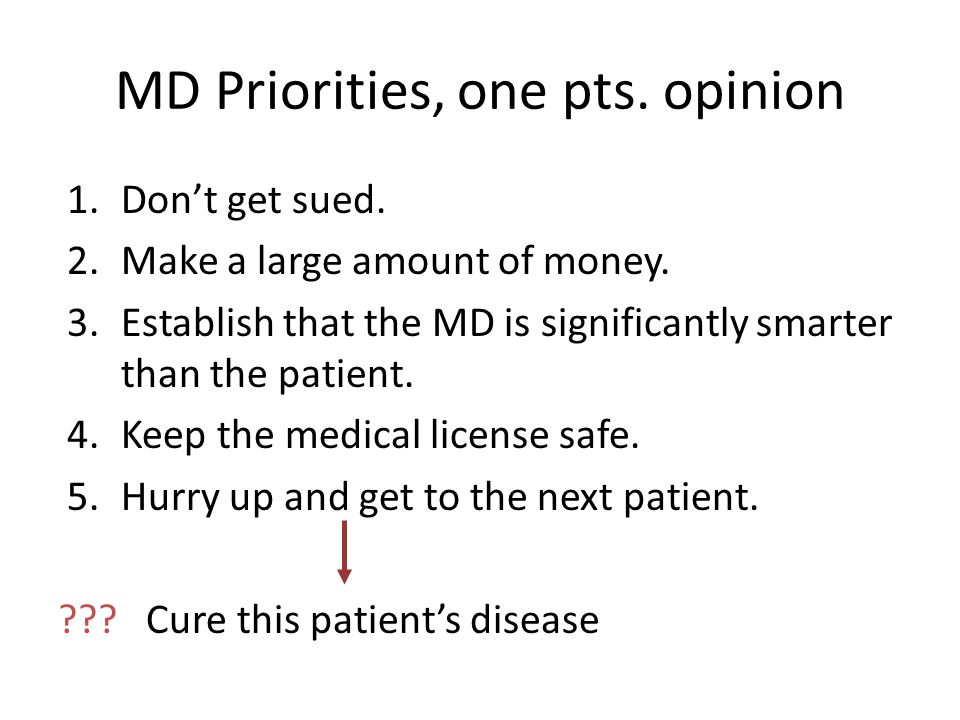 MD Priorities, one pts. opinion 1.Don't get sued.