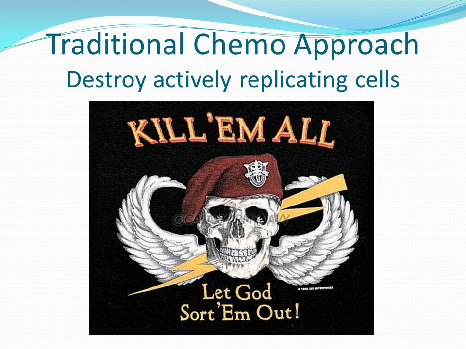 Traditional Chemo Approach Destroy actively replicating cells