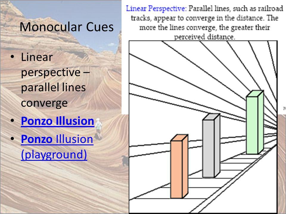 Monocular Cues Linear perspective – parallel lines converge Ponzo Illusion Ponzo Illusion (playground) Ponzo Illusion (playground)