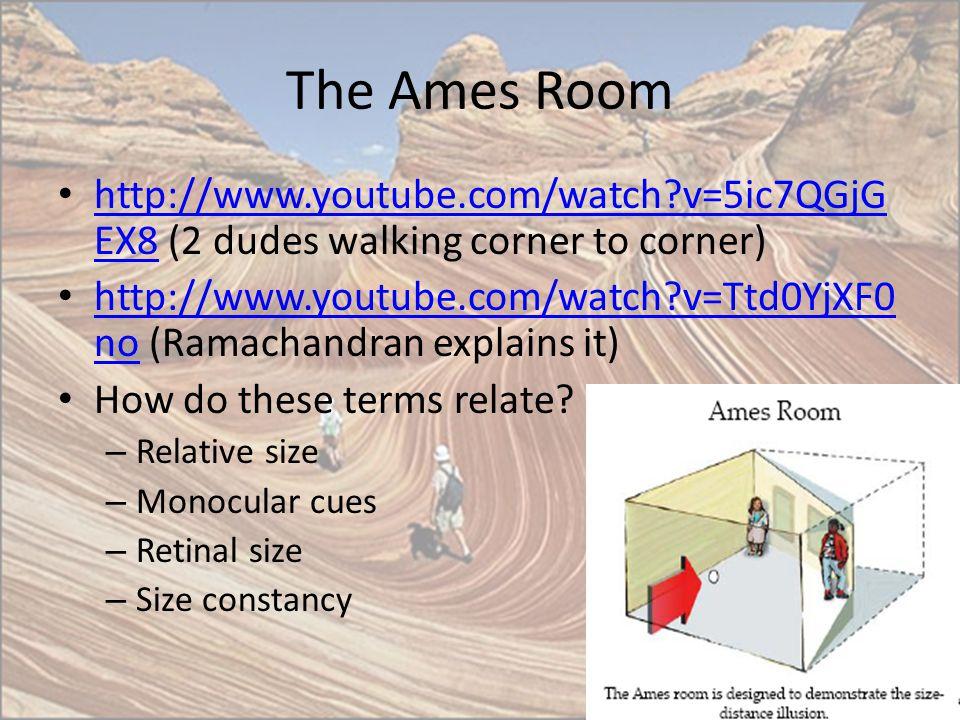 The Ames Room http://www.youtube.com/watch?v=5ic7QGjG EX8 (2 dudes walking corner to corner) http://www.youtube.com/watch?v=5ic7QGjG EX8 http://www.yo