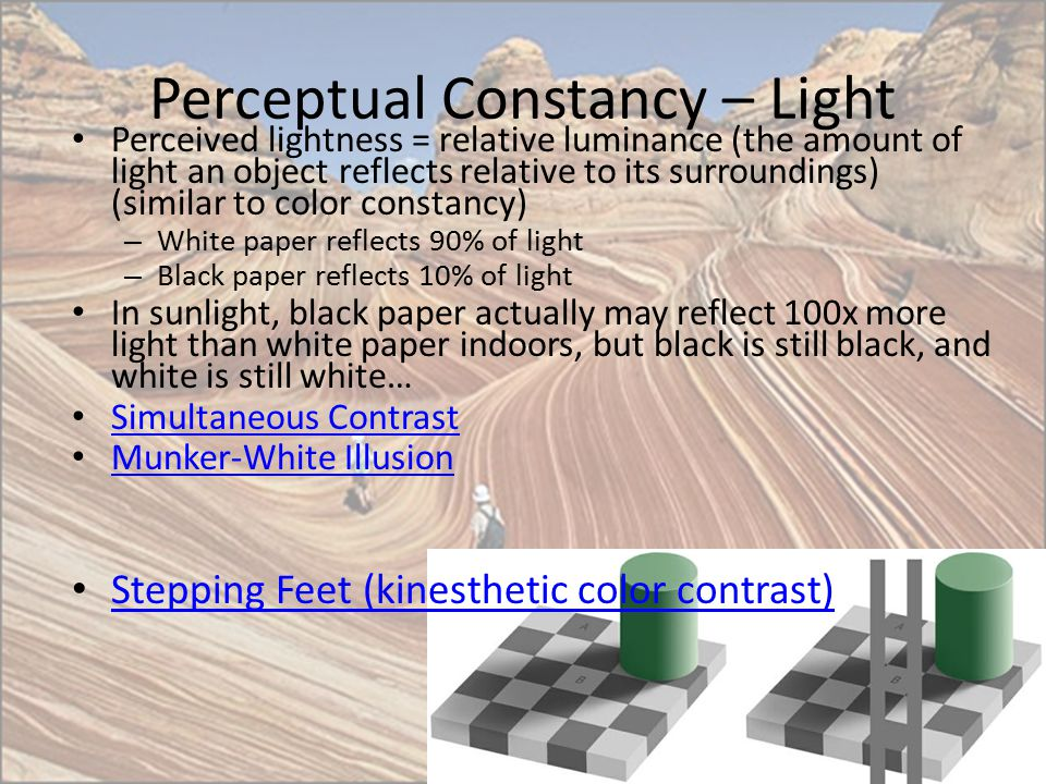 Perceptual Constancy – Light Perceived lightness = relative luminance (the amount of light an object reflects relative to its surroundings) (similar t