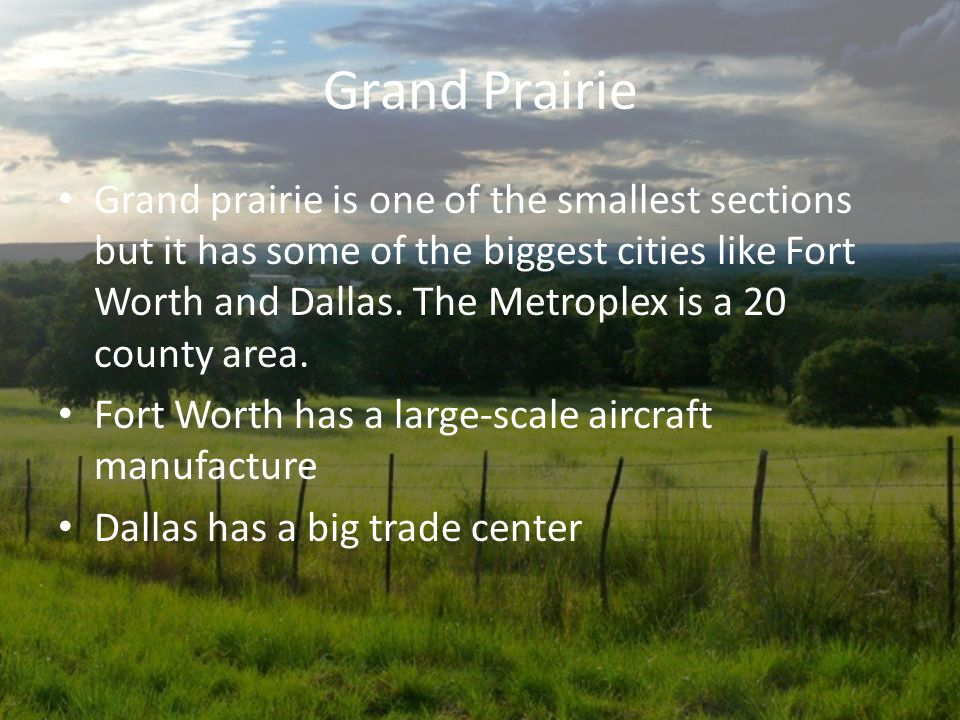 Geography of Grand Prairie Grand Prairie is also a big part of the north central plains There's limestone in the soil The largest cities are fort wort
