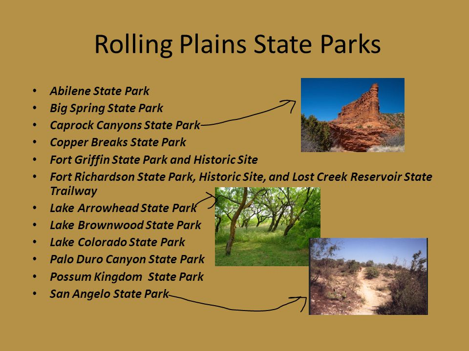 Rolling Plains State Parks Abilene State Park Big Spring State Park Caprock Canyons State Park Copper Breaks State Park Fort Griffin State Park and Historic Site Fort Richardson State Park, Historic Site, and Lost Creek Reservoir State Trailway Lake Arrowhead State Park Lake Brownwood State Park Lake Colorado State Park Palo Duro Canyon State Park Possum Kingdom State Park San Angelo State Park