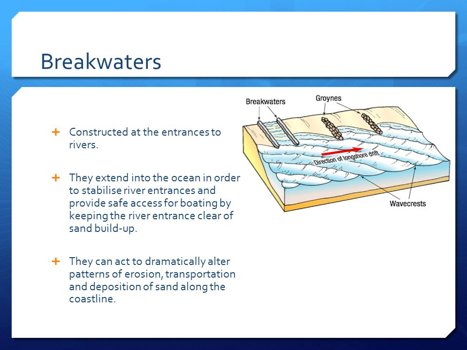 Breakwaters  Constructed at the entrances to rivers.  They extend into the ocean in order to stabilise river entrances and provide safe access for b
