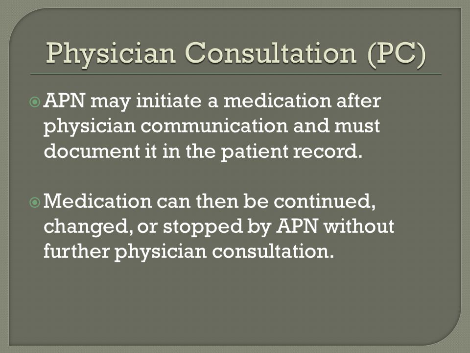  APN may initiate a medication after physician communication and must document it in the patient record.  Medication can then be continued, changed,