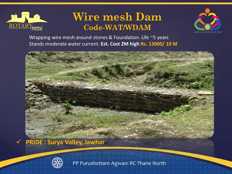 Wire mesh Dam Code-WAT/WDAM PP Purushottam Agwan: RC Thane North Wrapping wire mesh around stones & Foundation.