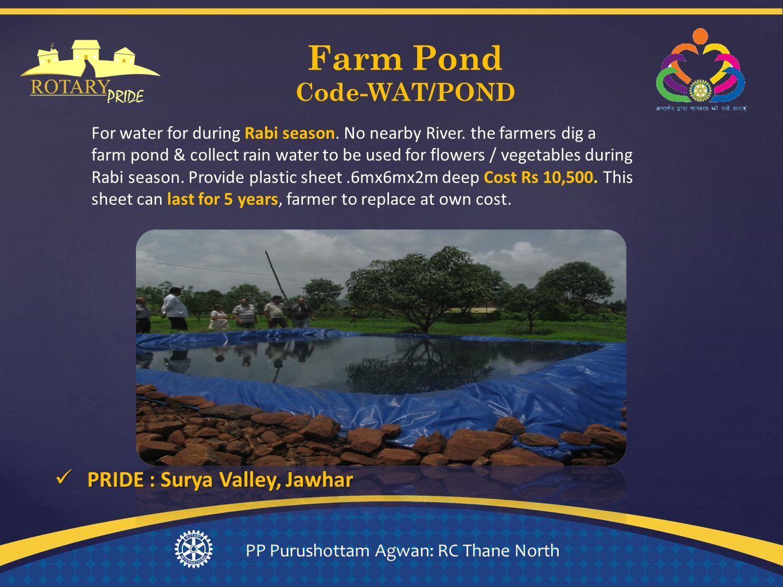 Farm Pond Code-WAT/POND PP Purushottam Agwan: RC Thane North For water for during Rabi season.