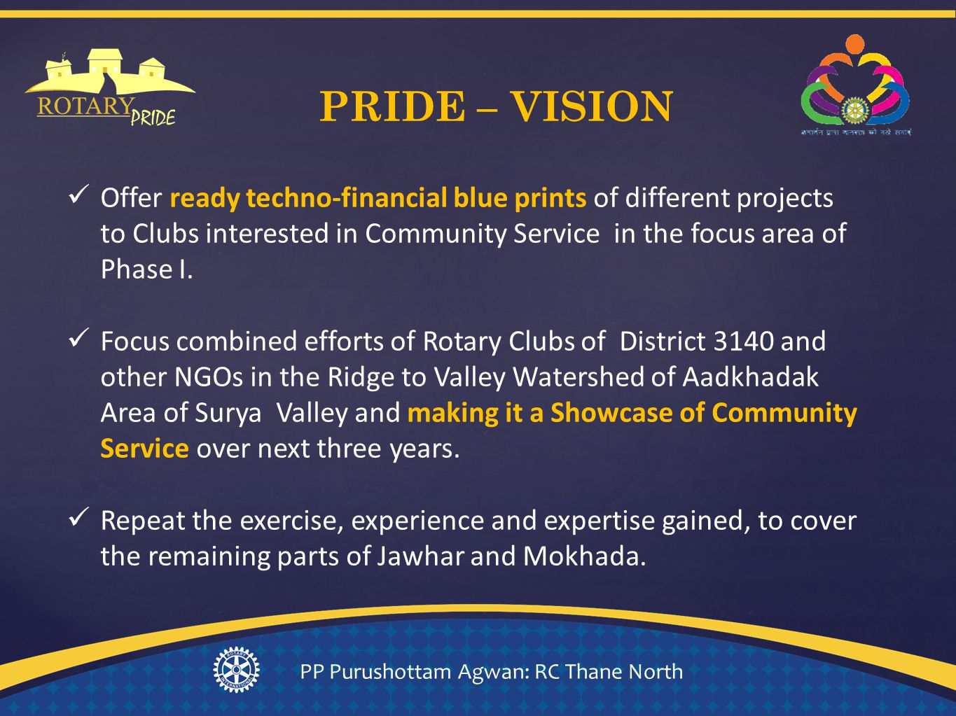 Offer ready techno-financial blue prints of different projects to Clubs interested in Community Service in the focus area of Phase I.