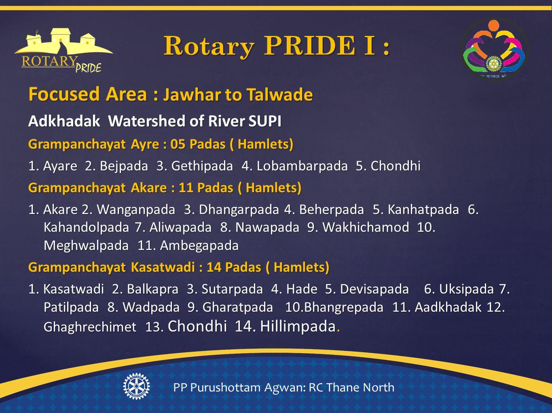 Focused Area : Jawhar to Talwade Adkhadak Watershed of River SUPI Grampanchayat Ayre : 05 Padas ( Hamlets) 1.