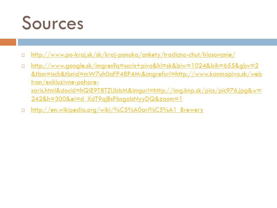 Sources  http://www.po-kraj.sk/sk/kraj-ponuka/ankety/tradicna-chut/hlasovanie/ http://www.po-kraj.sk/sk/kraj-ponuka/ankety/tradicna-chut/hlasovanie/  http://www.google.sk/imgres q=saris+pivo&hl=sk&biw=1024&bih=655&gbv=2 &tbm=isch&tbnid=mW7uh0aFP48P4M:&imgrefurl=http://www.kamnapivo.sk/web tron/exkluzivne-pohare- saris.html&docid=hQiE9T8TZIJbbM&imgurl=http://img.knp.sk/pics/pic976.jpg&w= 242&h=300&ei=d_XdT9qjBsPbsgaIsNyyDQ&zoom=1 http://www.google.sk/imgres q=saris+pivo&hl=sk&biw=1024&bih=655&gbv=2 &tbm=isch&tbnid=mW7uh0aFP48P4M:&imgrefurl=http://www.kamnapivo.sk/web tron/exkluzivne-pohare- saris.html&docid=hQiE9T8TZIJbbM&imgurl=http://img.knp.sk/pics/pic976.jpg&w= 242&h=300&ei=d_XdT9qjBsPbsgaIsNyyDQ&zoom=1  http://en.wikipedia.org/wiki/%C5%A0ari%C5%A1_Brewery http://en.wikipedia.org/wiki/%C5%A0ari%C5%A1_Brewery