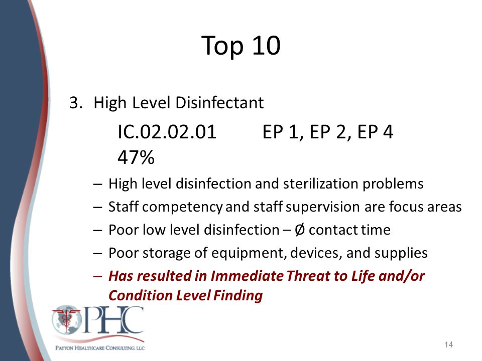 Top 10 3.High Level Disinfectant IC.02.02.01EP 1, EP 2, EP 4 47% – High level disinfection and sterilization problems – Staff competency and staff supervision are focus areas – Poor low level disinfection – Ø contact time – Poor storage of equipment, devices, and supplies – Has resulted in Immediate Threat to Life and/or Condition Level Finding 14