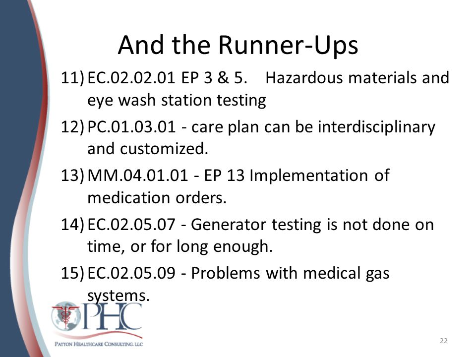 And the Runner-Ups 11)EC.02.02.01 EP 3 & 5. Hazardous materials and eye wash station testing 12)PC.01.03.01 - care plan can be interdisciplinary and c
