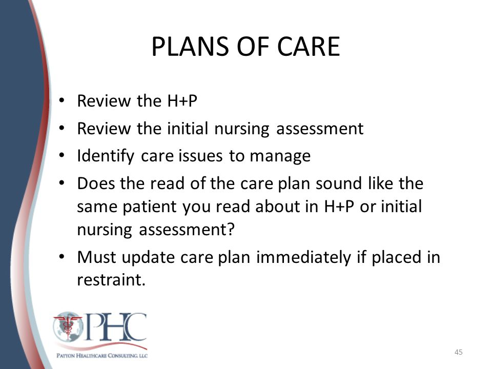 PLANS OF CARE Review the H+P Review the initial nursing assessment Identify care issues to manage Does the read of the care plan sound like the same patient you read about in H+P or initial nursing assessment.