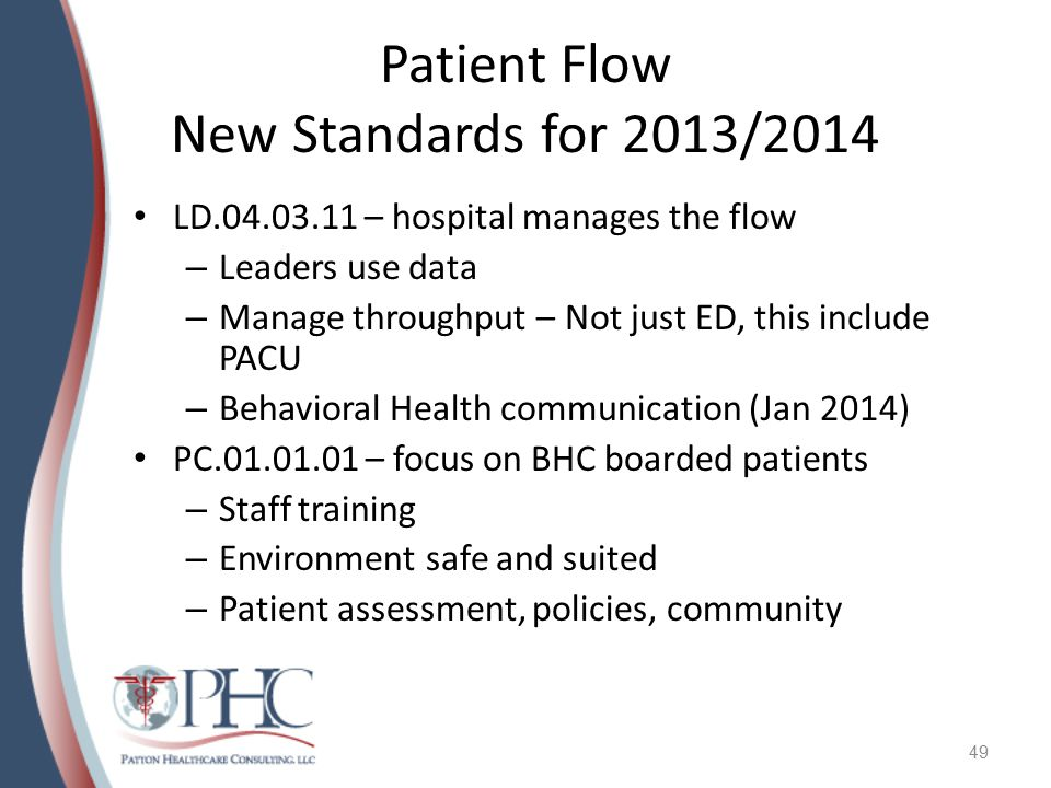 Patient Flow New Standards for 2013/2014 LD.04.03.11 – hospital manages the flow – Leaders use data – Manage throughput – Not just ED, this include PA