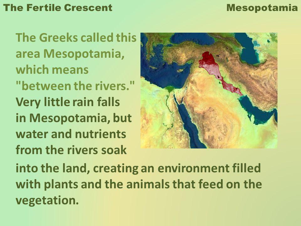 The Fertile Crescent Mesopotamia The Greeks called this area Mesopotamia, which means