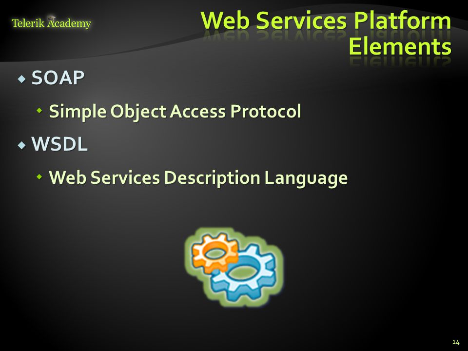 SOAP  Simple Object Access Protocol  WSDL  Web Services Description Language 14