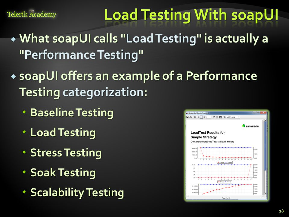  What soapUI calls Load Testing is actually a Performance Testing  soapUI offers an example of a Performance Testing categorization:  Baseline Testing  Load Testing  Stress Testing  Soak Testing  Scalability Testing 28