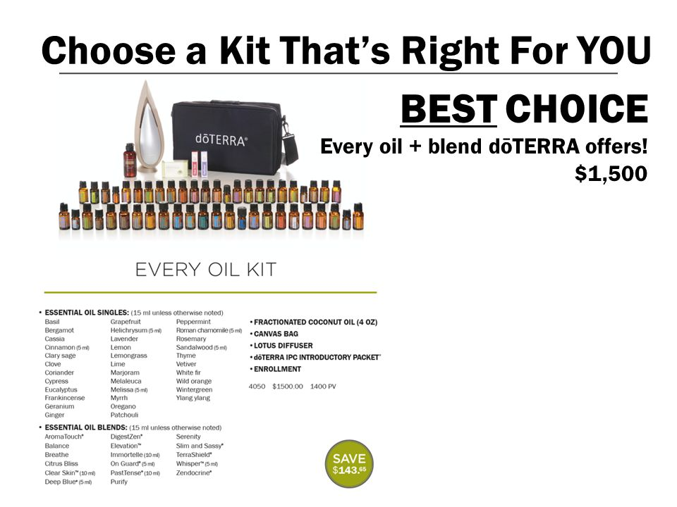 Choose a Kit That's Right For YOU BEST CHOICE Every oil + blend dōTERRA offers! $1,500