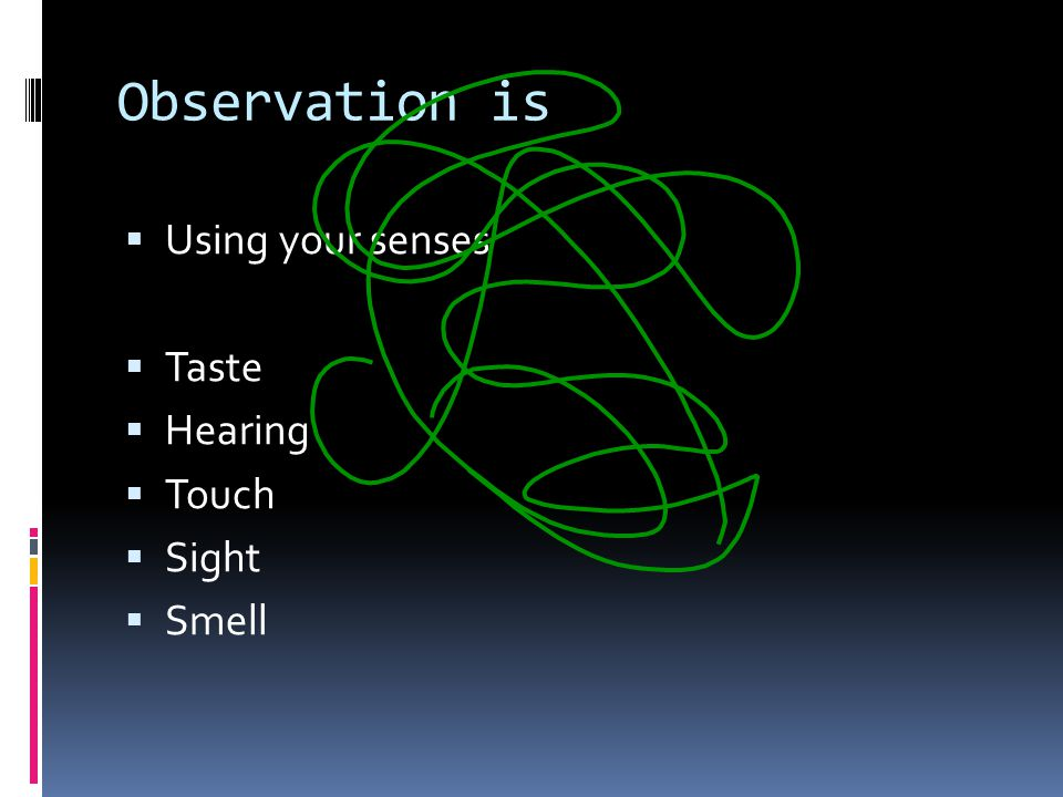 Observation is  Using your senses  Taste  Hearing  Touch  Sight  Smell