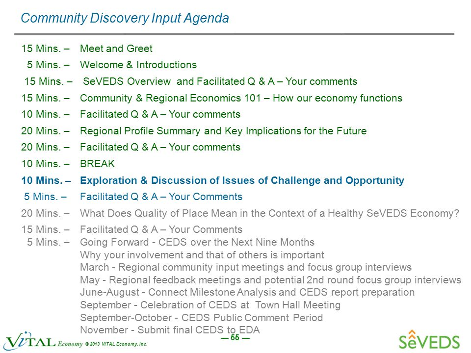 — 55 — © 2013 ViTAL Economy, Inc. Community Discovery Input Agenda 15 Mins. –Meet and Greet 5 Mins. – Welcome & Introductions 15 Mins. – SeVEDS Overvi