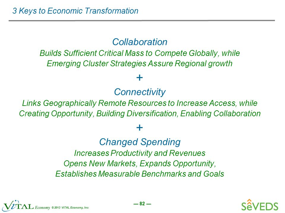 — 82 — © 2013 ViTAL Economy, Inc. 3 Keys to Economic Transformation Collaboration Builds Sufficient Critical Mass to Compete Globally, while Emerging